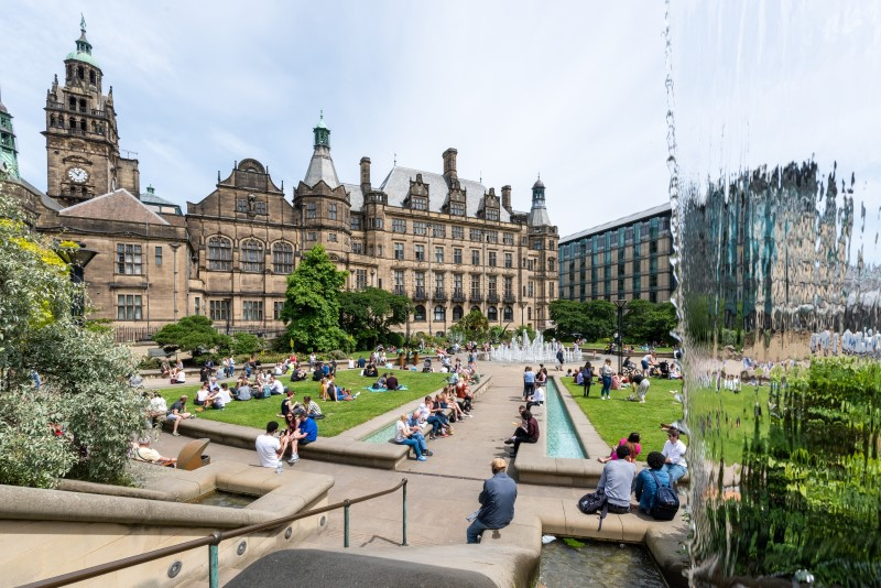 Sheffield students in Peace Gardens